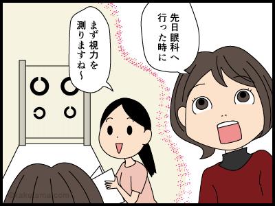 視力検査をする4コマ漫画