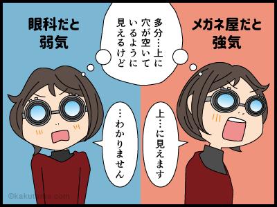 眼鏡屋と眼科では答えが違う4コマ漫画