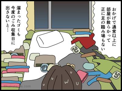 散らかった部屋の4コマ漫画