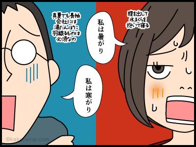 暑がりの女と寒がりの男の4コマ漫画1