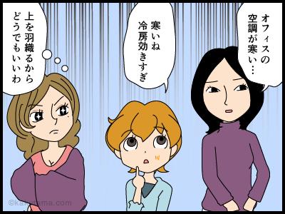 オフィスの寒暖差に悩む派遣社員の4コマ漫画1
