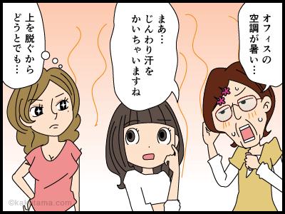 オフィスの寒暖差に悩む派遣社員の4コマ漫画2
