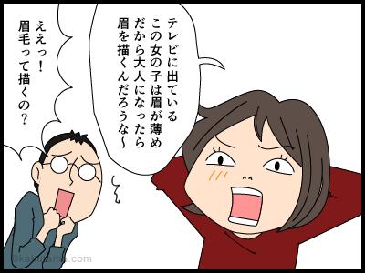 薄い眉毛とハゲの関係の4コマ漫画1
