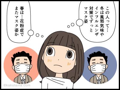 マスクの下の顔を知らない4コマ漫画2