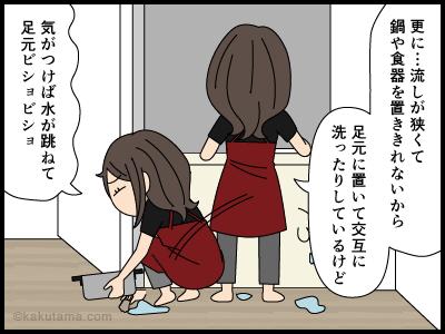 ワンルームのキッチンもかなり狭い漫画2