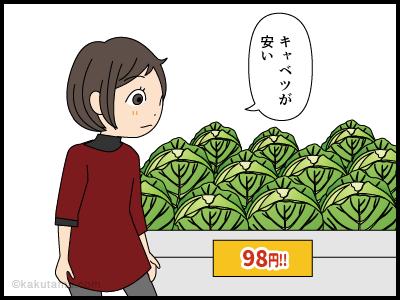 良いキャベツを買おうと思うがわからない主婦の漫画1