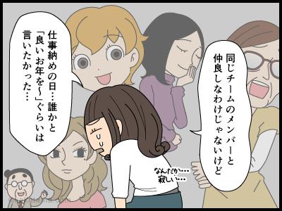仕事納めの日に挨拶がなくて悲しんでいる派遣社員の漫画4
