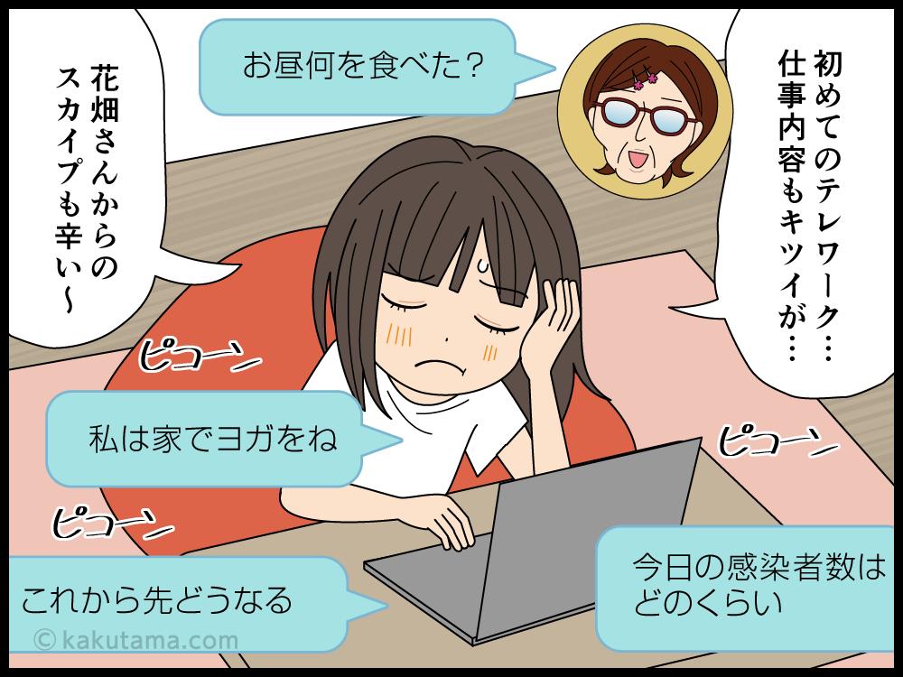 上司からの連絡が頻繁でテレワークが辛い派遣社員の漫画1