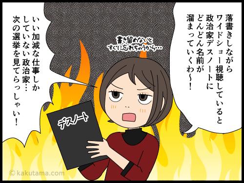 コロナ自粛に対する補償のコメントが他人事な政治家に怒る主婦の漫画4