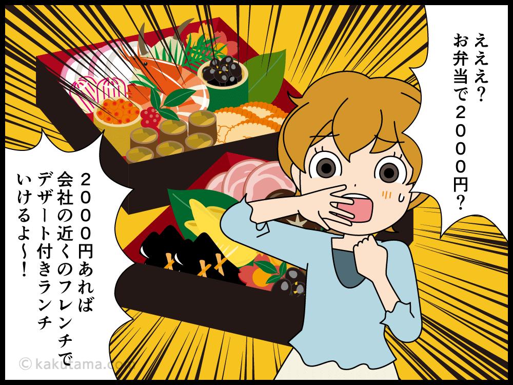 高級料理もテイクアウトで食べれるけれどやっぱり高い4コマ漫画3