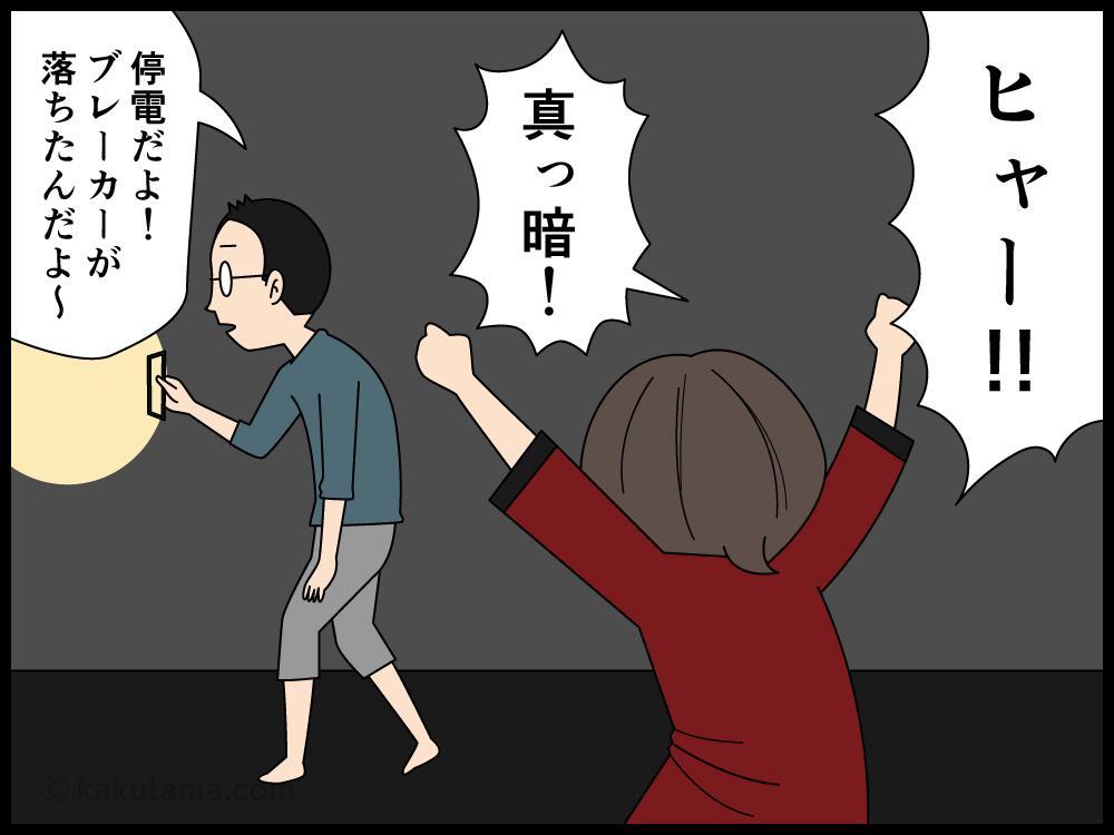 突然の停電にビビる主婦の漫画3