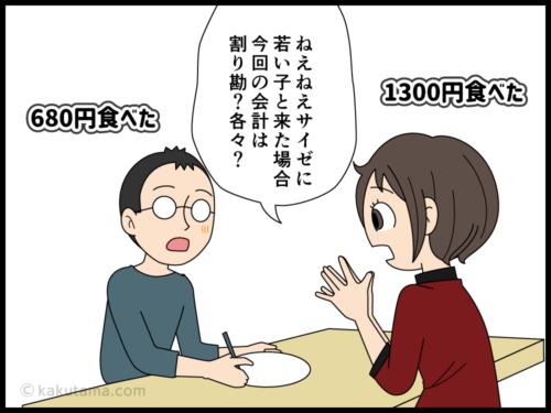 最近は食事をごちそうするのも気を使うダンナの漫画1