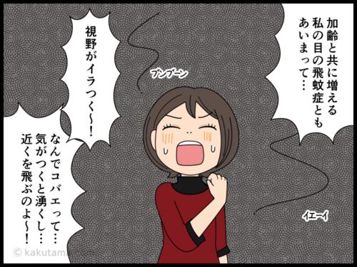 顔の近くをチョコマカと飛ぶコバエにムカつく漫画4