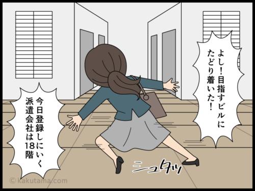 派遣登録へ行った高層ビルの1階で迷子になる派遣社員の漫画1