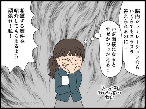 面接待ち中に緊張度が高まる派遣社員の漫画4