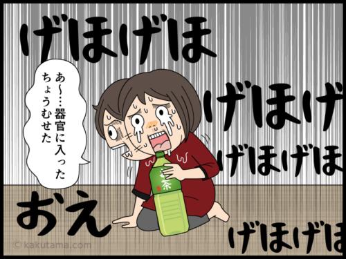 ものぐさでペットボトルから空中飲みをした結果むせる主婦の漫画5