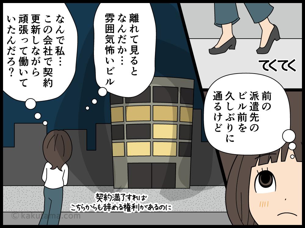 契約が終了した派遣先のビルを見る派遣社員の漫画