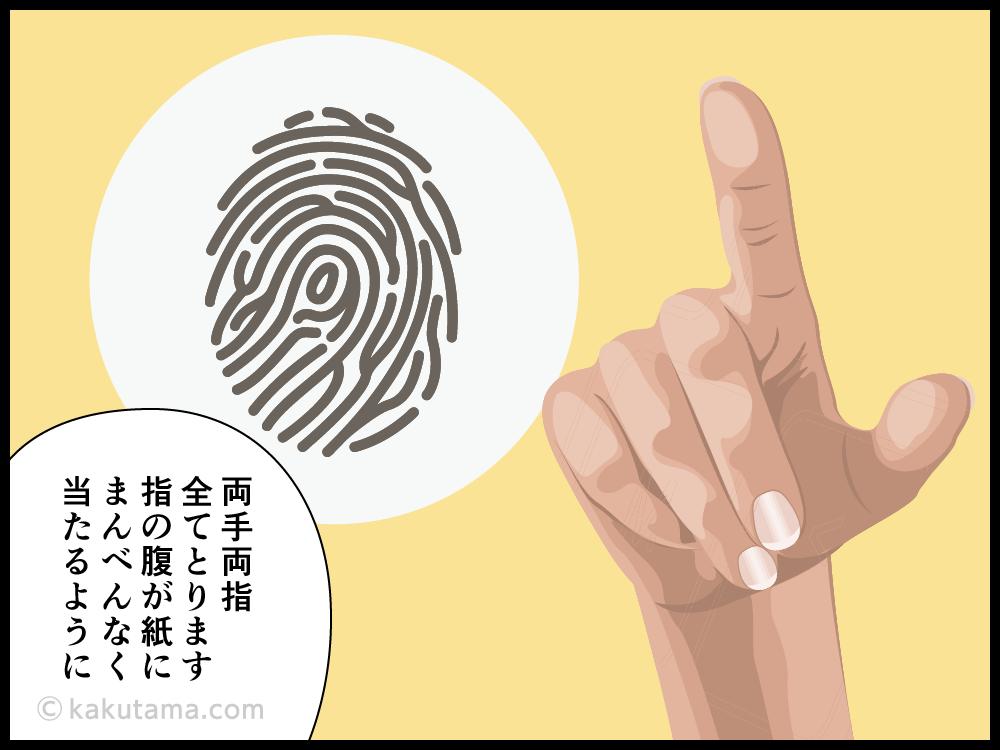 現場に残った指紋採取の為に、被害者も指紋採取される漫画2