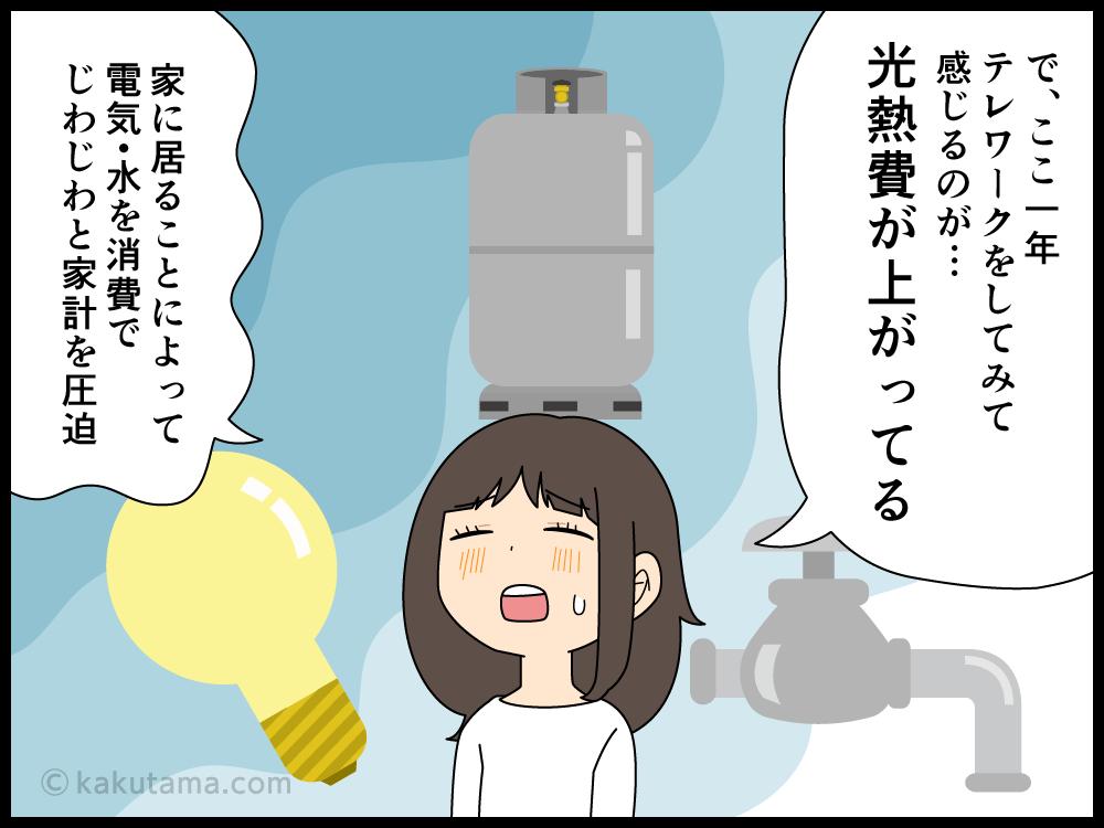 テレワークになって光熱費があがって苦労している派遣社員の漫画